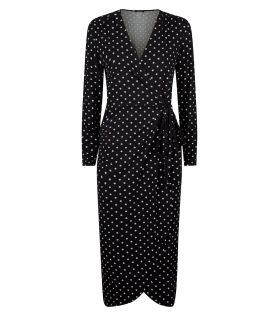 new look polka wrap dress